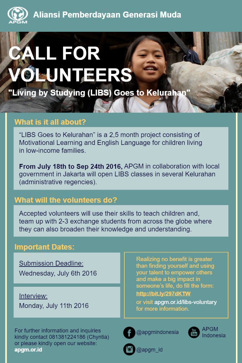 [Poster] Call for Volunteers (Website)